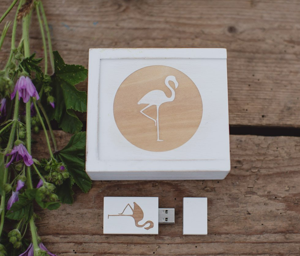 USB white wooden branded box