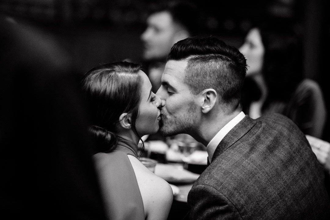 Circomedia wedding Bristol, kissing couple