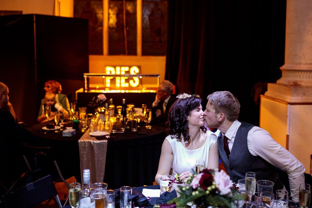 Circomedia wedding Bristol, bride and groom kissing