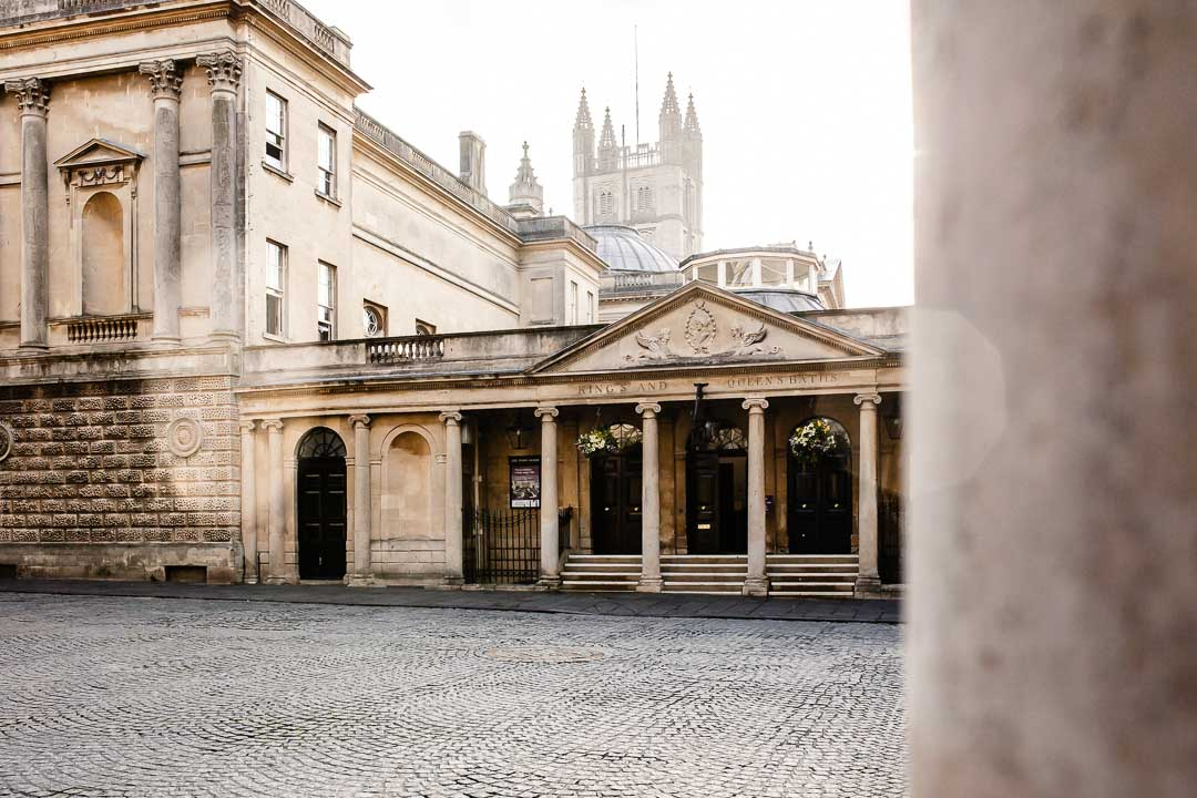 front view of the Roman Baths