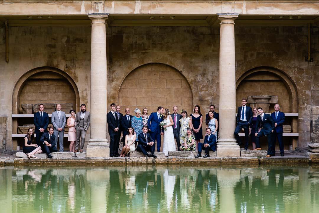 group shot at the roman baths