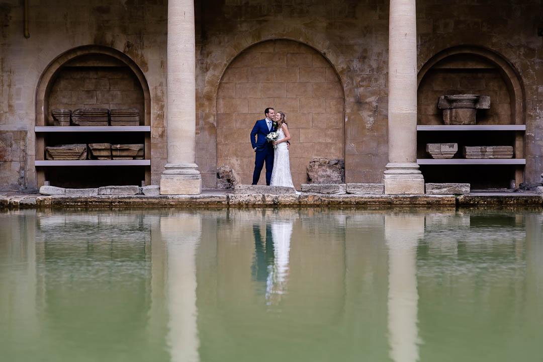 creative bride and groom shot