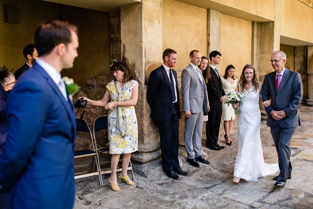 Bride arrives at the roman baths