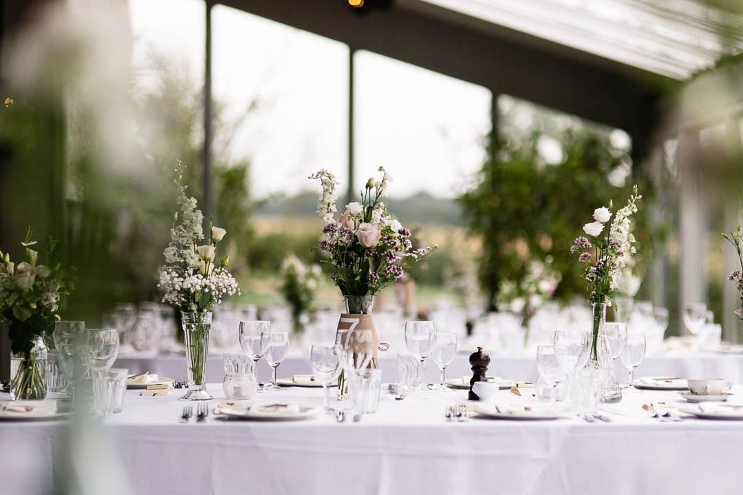 Tables laid at Cripps stone barn