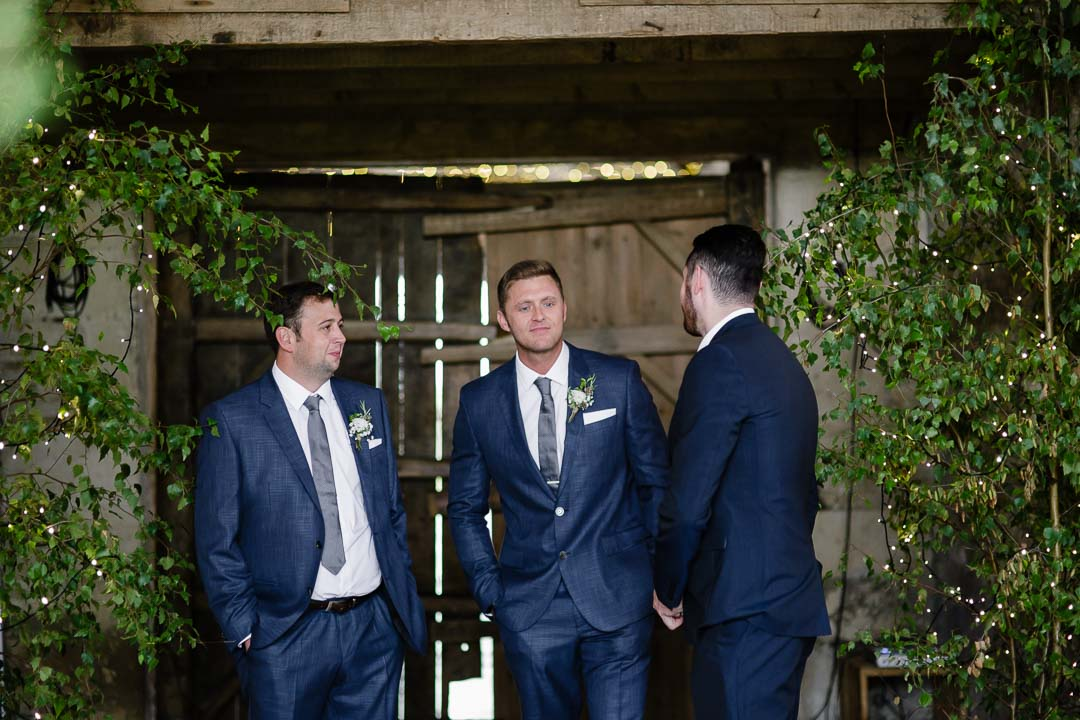 Groom waits Wedding at Cripps Stone barn