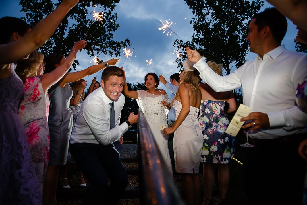 sparkler shot Wedding at Cripps Stone barn