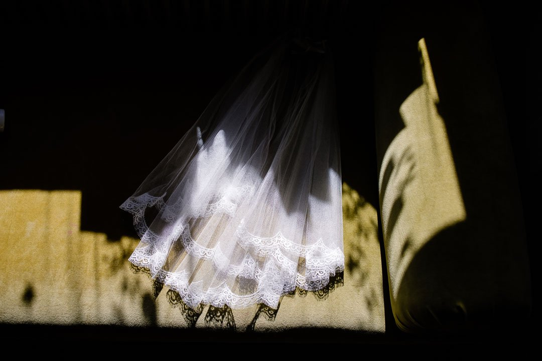 brides veil in sunlight