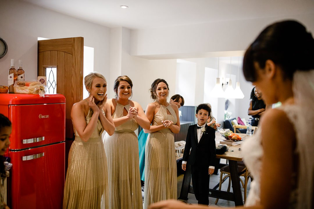 excited bridesmaids