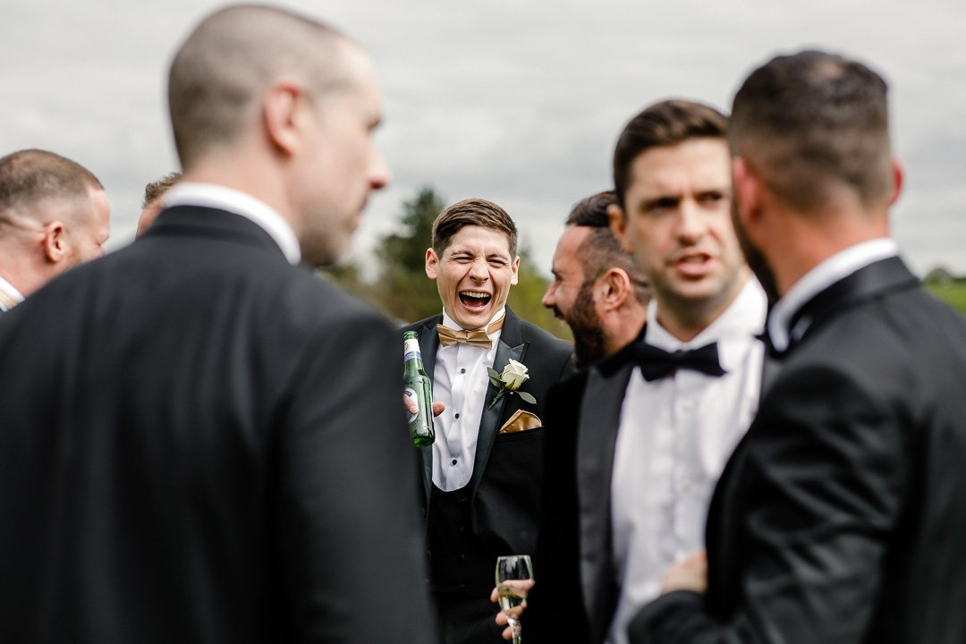 laughter from the groom