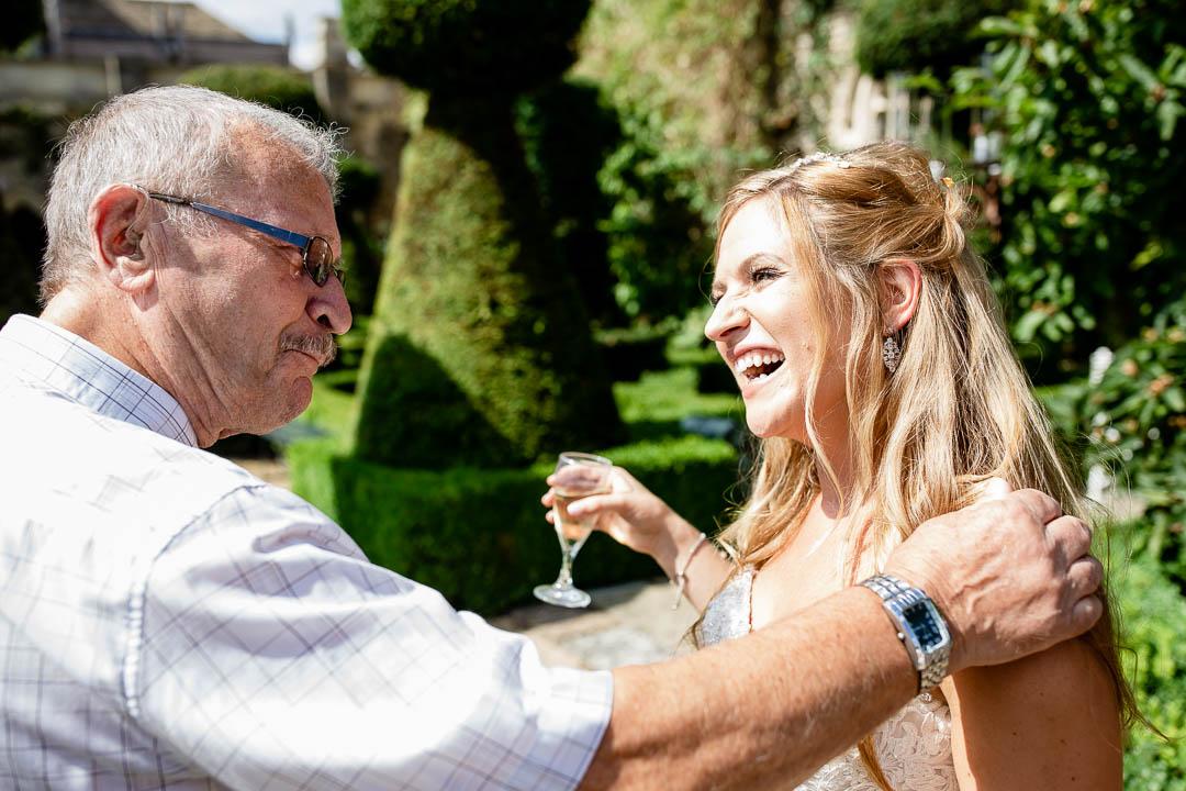 Bride greets guests