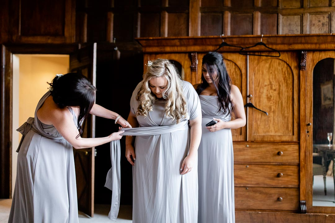 Elmore Court bridesmaids getting dressed