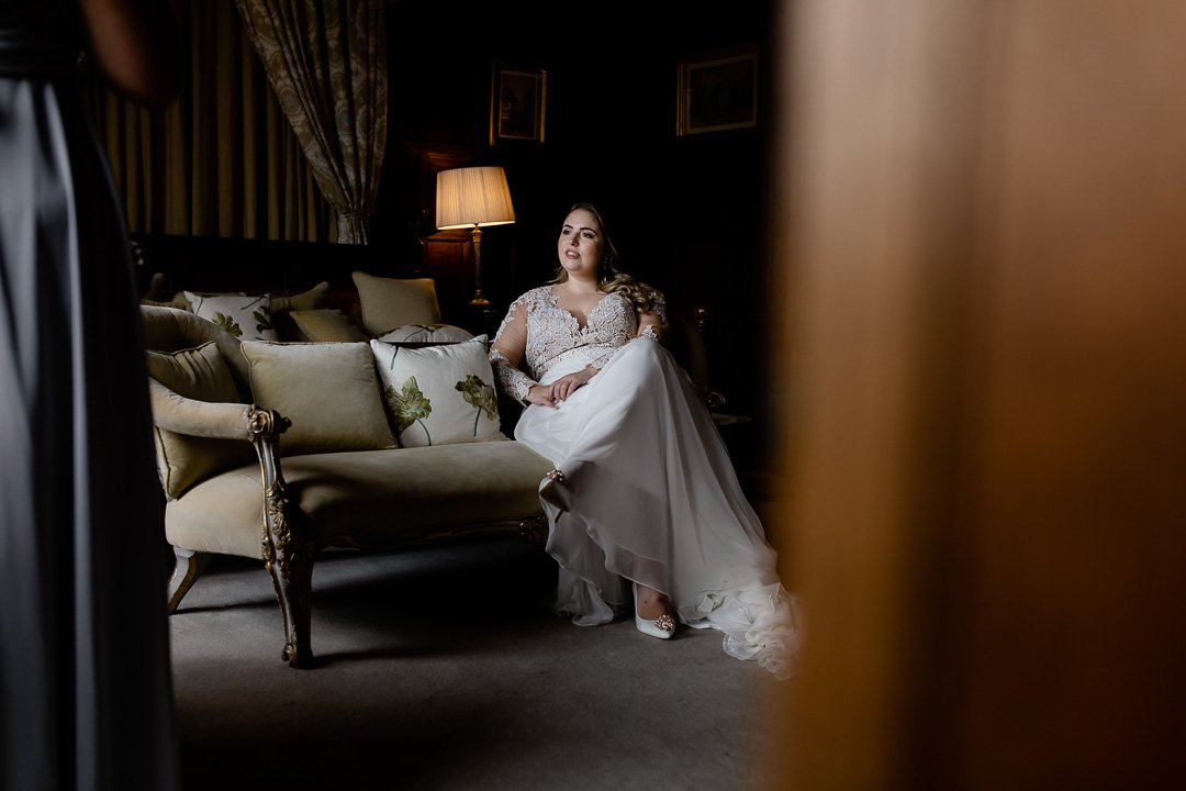 Elmore Court bride relaxing
