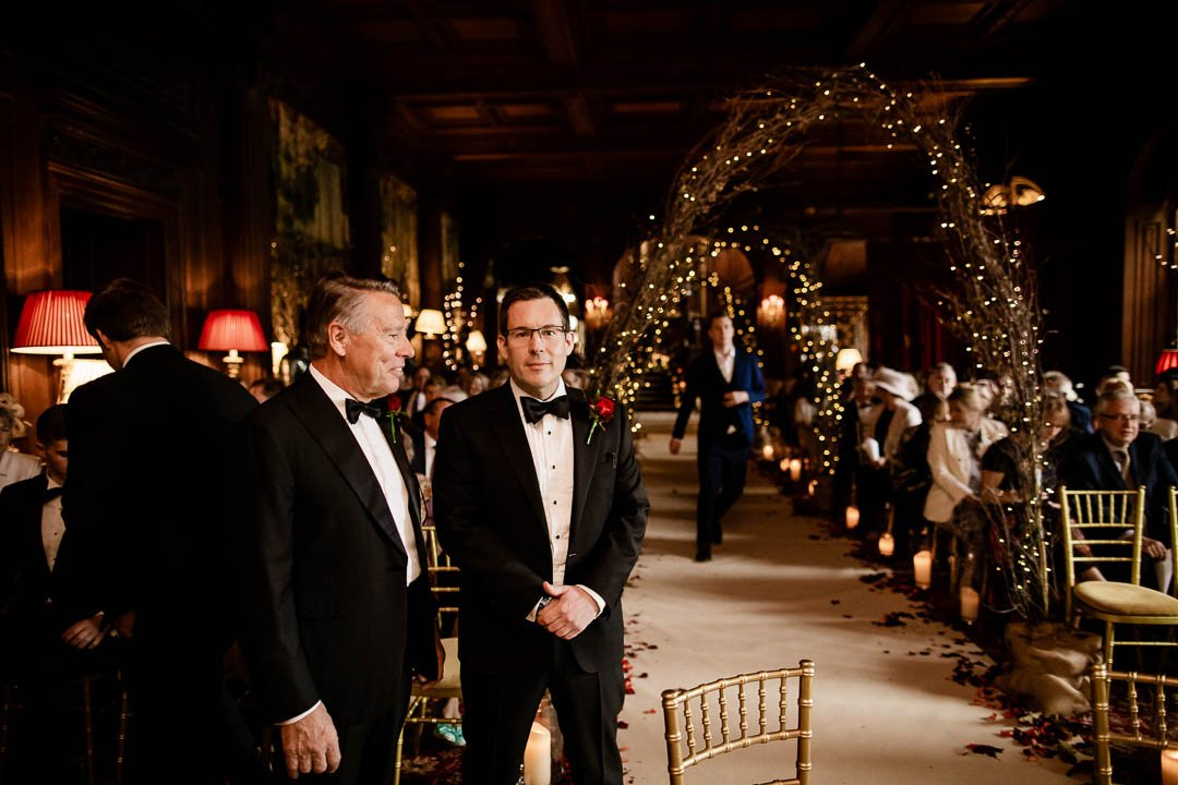 Groom & Father wait at Cliveden House