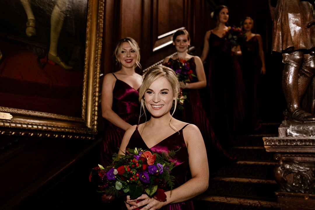 Bridesmaids on the stairs at Cliveden House