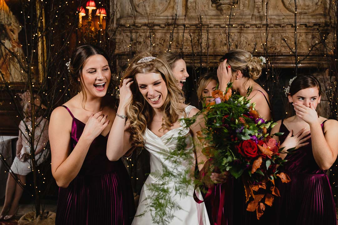 Bridesmaids acting the fool at Cliveden House