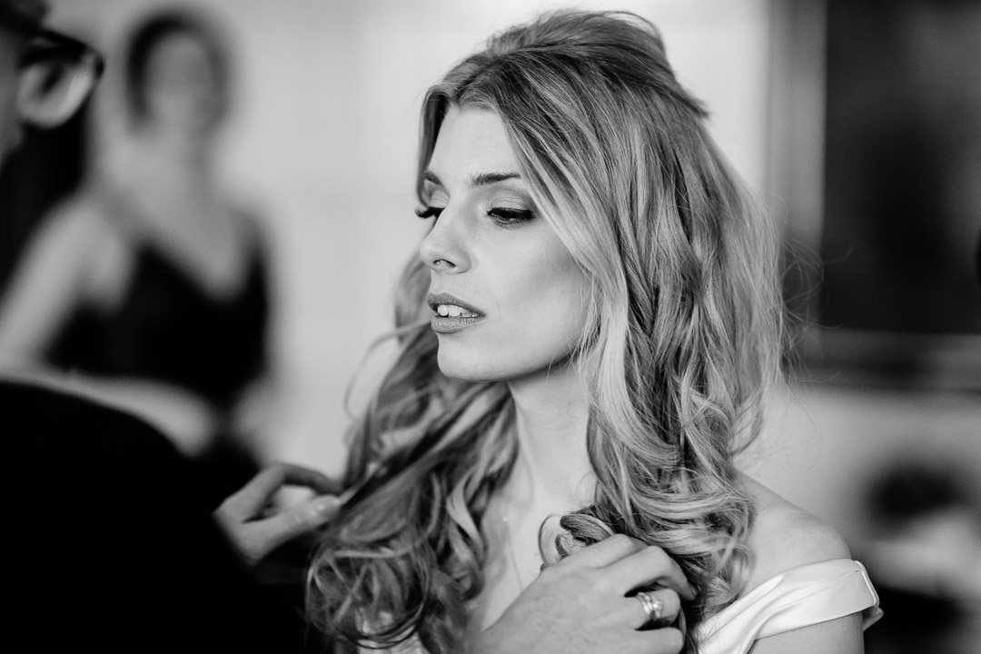 Bride getting ready at Cliveden House