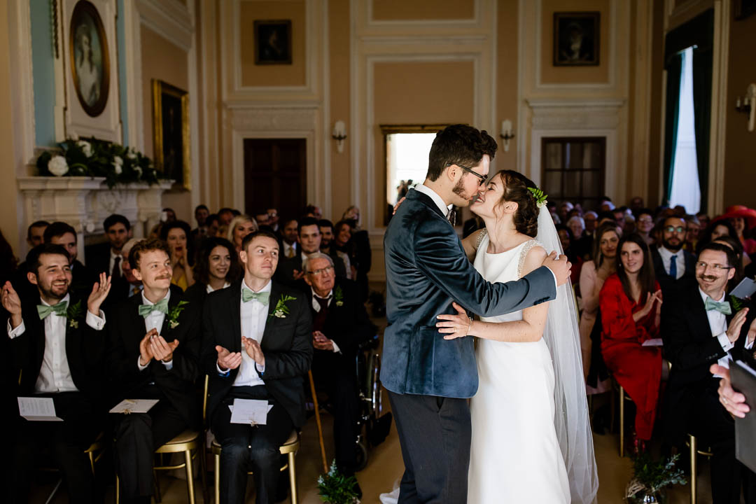 Newhouse Estate Wedding, first kiss