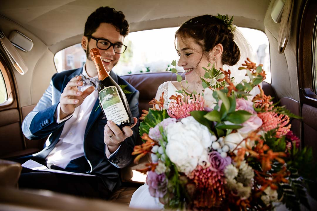 Newhouse Estate Wedding, in the bridal car
