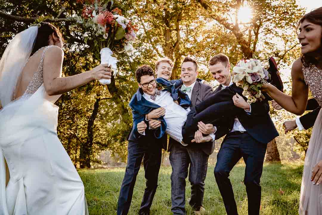 fun and games with the bridal party