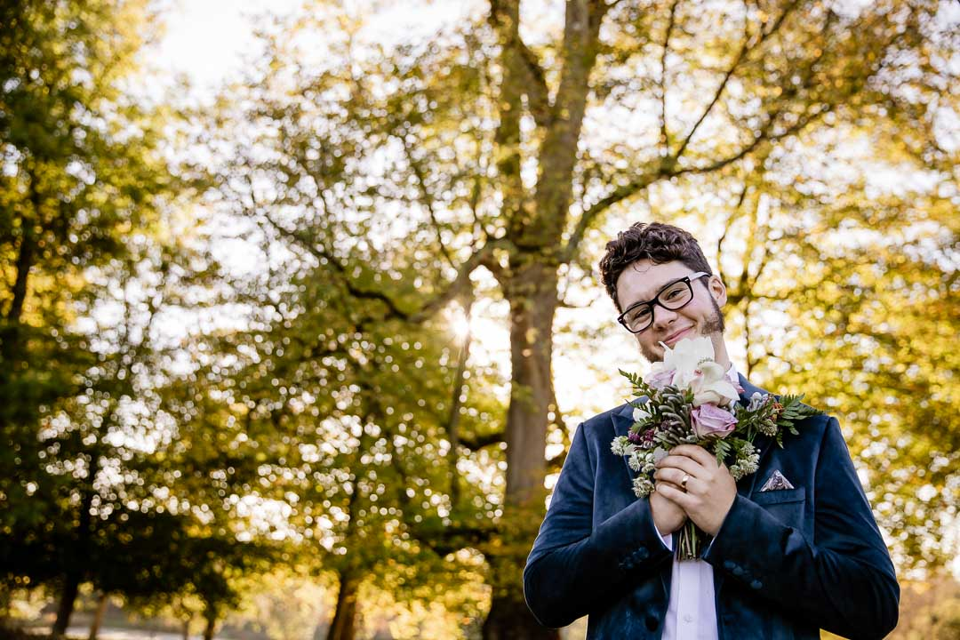 Henry with the bridal flowers