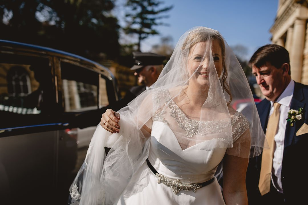 Bride arrives at Prior Park