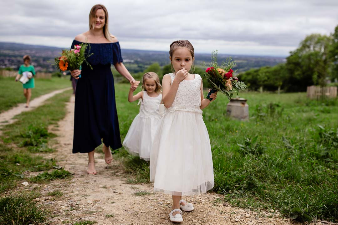 Flowergirls arrive Old Barn Kelston