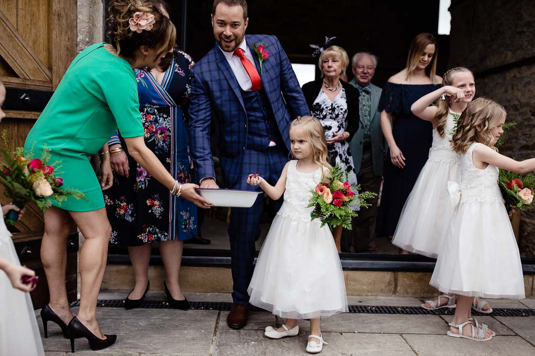 flower girl gets confetti