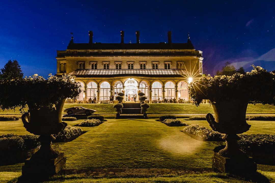Grittleton House Wedding, the house at night