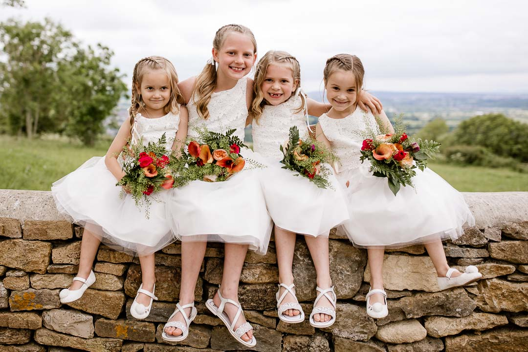 cute flower girls on a wall