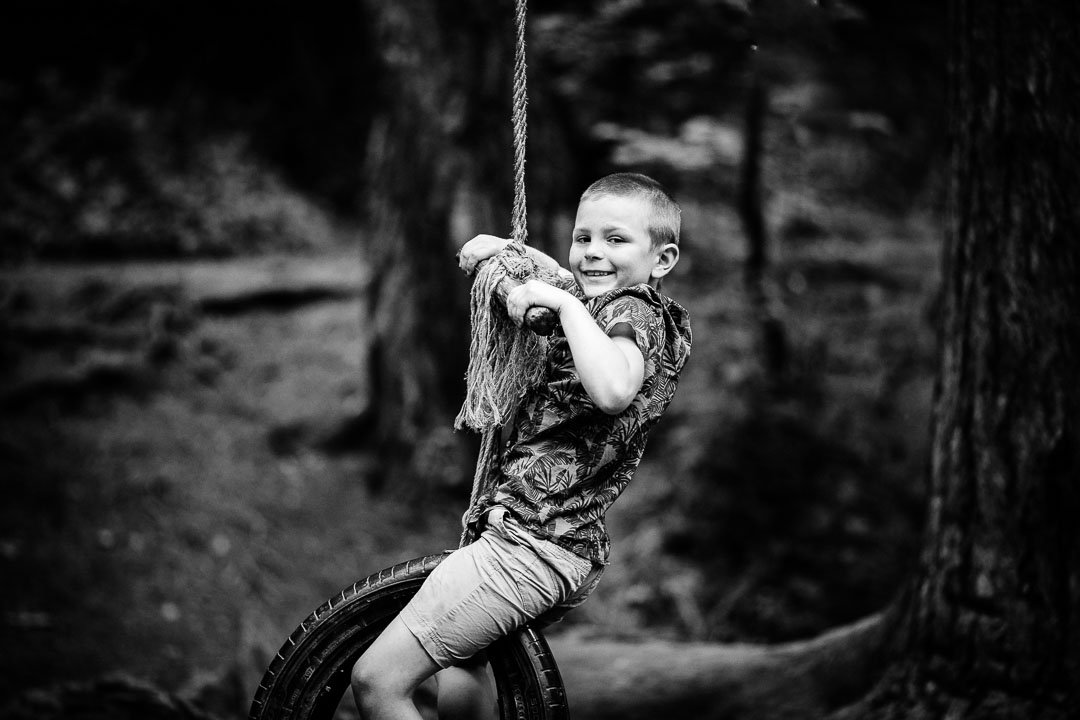 Playing on the swing rope